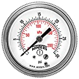 """Winters P9S 90 Series Steel Dual Scale Pressure Gauge with Removable Lens, 0-30 psi/kpa, 2"""" Dial Display, -2-1-2% Accuracy, 1/4"""" NPT Center Back Mount"""