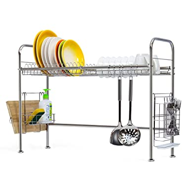 NEX 304 Stainless Steel Dish Rack Over the Sink Dish Drying Rack with Cutting Board Holder, Utensil Holder, Hooks