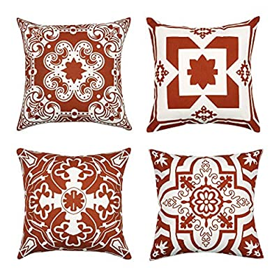 Light & Pro Square Printed Cotton Cushion Cover,Throw Pillow Case, Outdoor Cushion Covers,Slipover Pillowslip for Home, Sofa, Couch,Bed, Chair Back Seat, Set of 4-18x18 inch - Rust - Only Cover -  - patio, outdoor-throw-pillows, outdoor-decor - 6117Nz3Va3L. SS400  -
