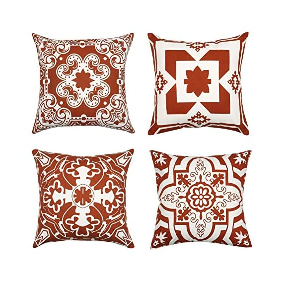 Light & Pro Square Printed Cotton Cushion Cover,Throw Pillow Case, Outdoor Cushion Covers,Slipover Pillowslip for Home, Sofa, Couch,Bed, Chair Back Seat, Set of 4-18x18 inch - Rust - Only Cover - VALUE PACK:Each pillow cover size is 18x18 inch/45x45cm (0.5-1cm deviation). Package contains only Pillow Cover and no inserts included. STYLE : Four different patterns make the entire pillow cover full of fashion and illuminate your home. CONSTRUCTION : The pattern of the cushion covers same on both side. The invisible zipper is easy to placement and removal. - patio, outdoor-throw-pillows, outdoor-decor - 6117Nz3Va3L. SS570  -