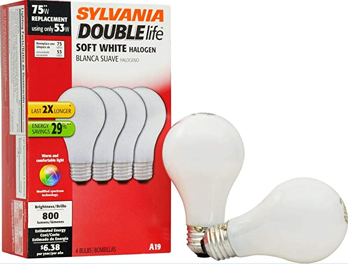 Sylvania 50045 Double Life Soft White Halogen 53W Replacement for 75W Incadescent Lightbulbs