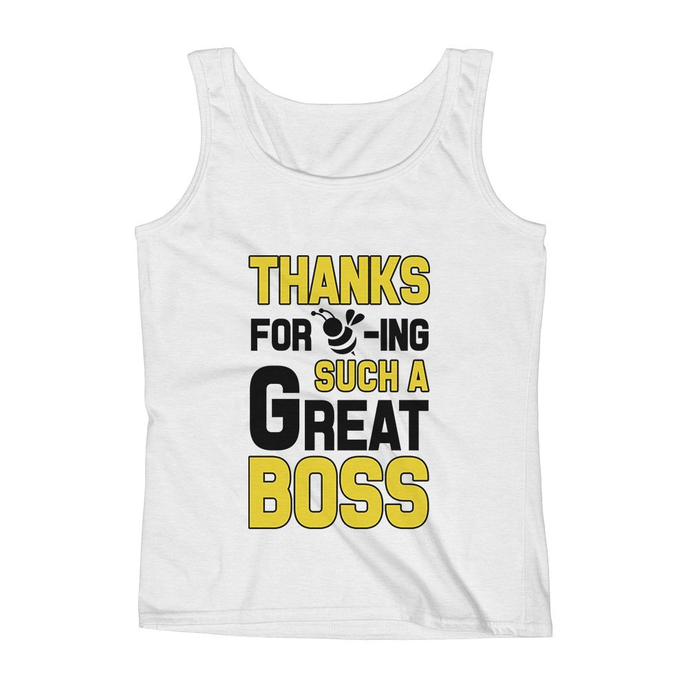 Mad Over Shirts Thanks for Being Such A Great Boss Office Inspirational Unisex Premium Tank Top