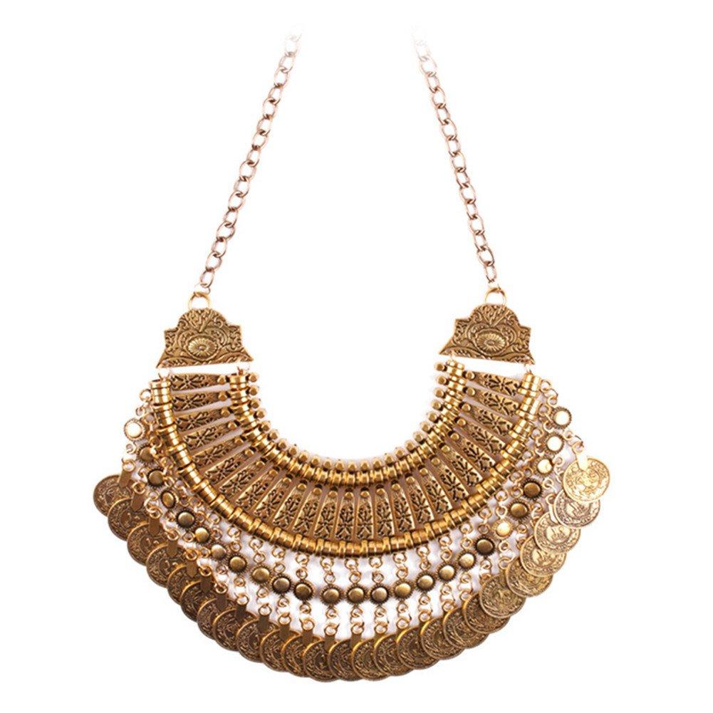 Flesser/® Vintage Bohemian Antalya Gypsy Turkish Coin Collar Statement Bib Necklace