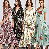 DENG&XUE Summer Women's Elegant V-Neck Floral Print Big Swing Bohemian Party Maxi Long Split Dress (Apricot,L)