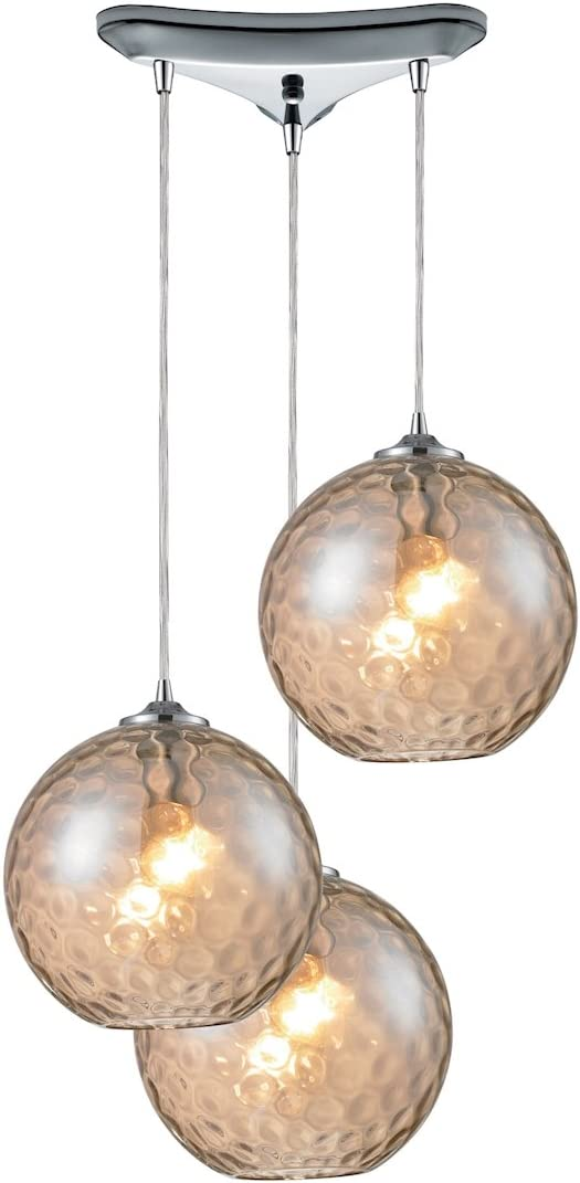 Elk 31380 3CMP HGTV Home Watersphere 3-Light Pendant with Champagne Glass Shade, 10 by 6-Inch, Polished Chrome Finish