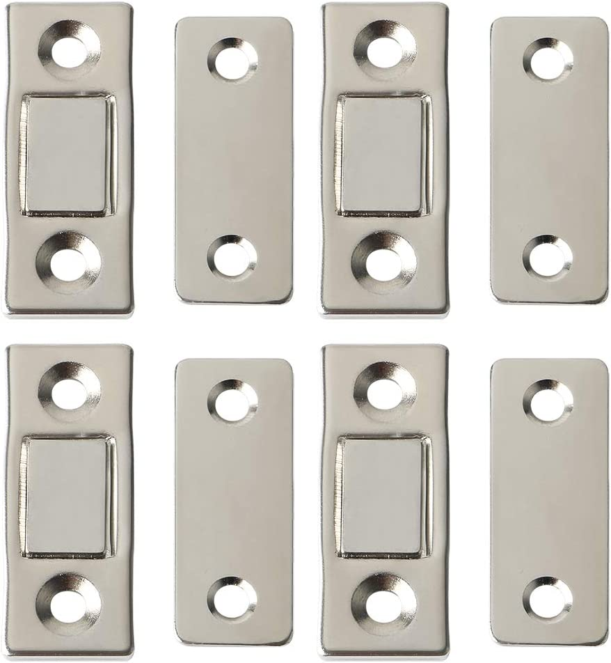 Alise 4 Pcs Cabinet Door Magnets Stainless Steel Magnetic Catch Latch for Sliding Door Closure Kitchen Cabinet Closer Furniture Cupboard,Silver