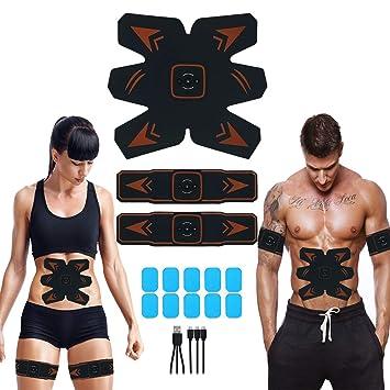 Masajeador El/éctrico Cintur/ón para Hombre//Mujer Entrenador Muscular para Brazo//Piernas//Cintura Electroestimulador Muscular Abdominales Cintur/ón USB Recargable y Incluir 10pcs Repuesto de Gel Hojas