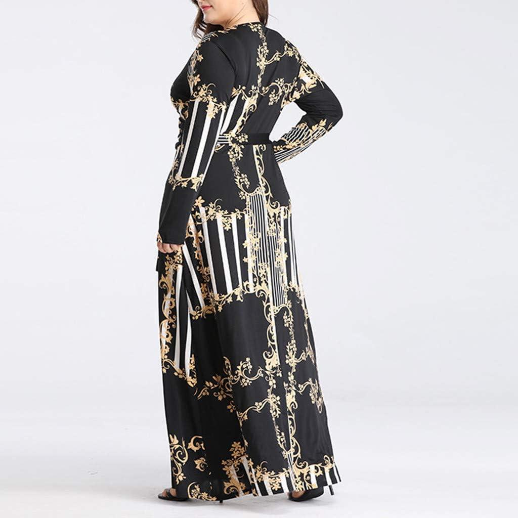 Plus Size Dresses for Women Summer Casual Long Sleeve Floral Plain V Neck Maxi Long Dress