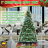 Strong Camel 7' Green Snow Tipped Christmas Tree with 38 pinecones Artificial Realistic Natural Branches -Unlit 210CM 1000 Tips With Steel Stand