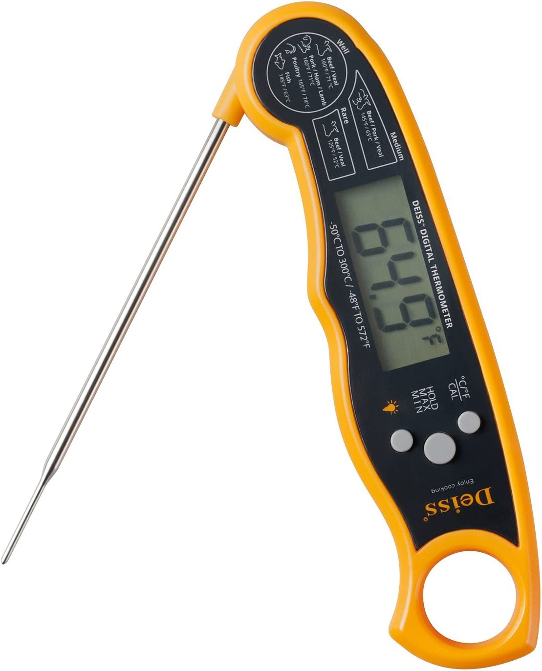 Deiss PRO Digital Meat Thermometer – Lightning Fast Precise Readings with Backlight Display