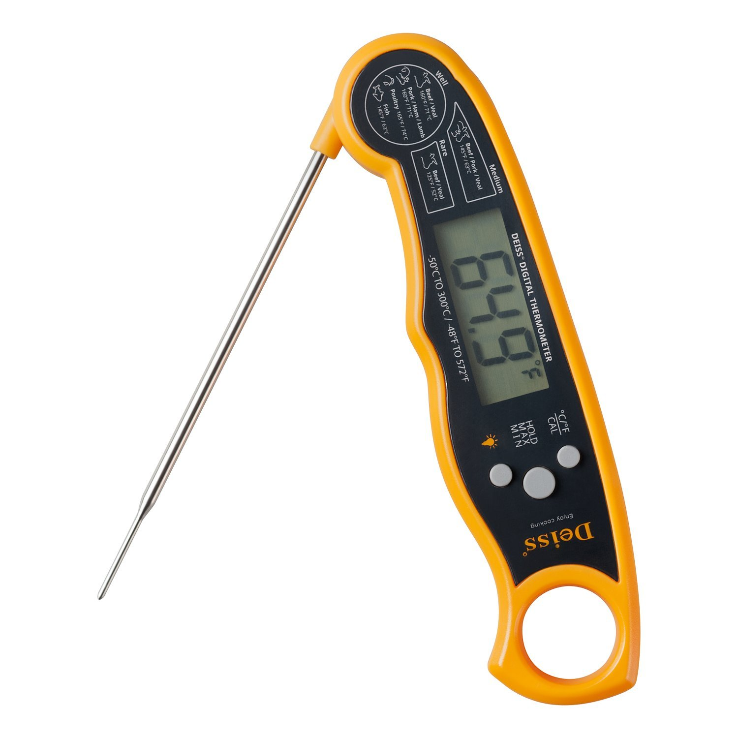 Deiss PRO Digital Meat Thermometer - Lightning Fast Precise Readings with Backlight Display, Memory Function and Calibration for Coffee, BBQ, Beef, Pork, Poultry, Fish - Instant Read Thermometer