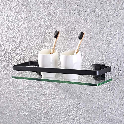 KES Bathroom Glass Shelf Aluminum Black Extra Thick Tempered Glass Rectangular 1 Tier Basket Wall Mounted, A4126A-BK