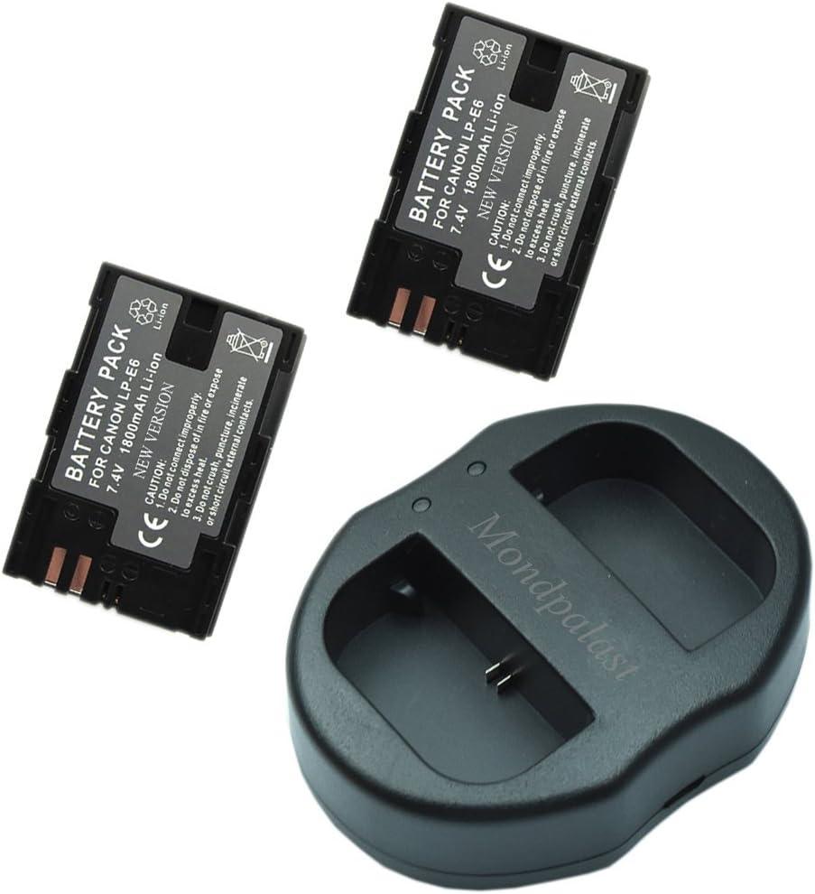Mondpalast @ 2X Reemplazo Baterías LP-E6 LPE6 lpe6 1800mAh + 1x USB Cargador Doble para Canon EOS 80D Canon EOS 5D Mark II 5D Mark III 5DS 5DS R Canon 6D 7D