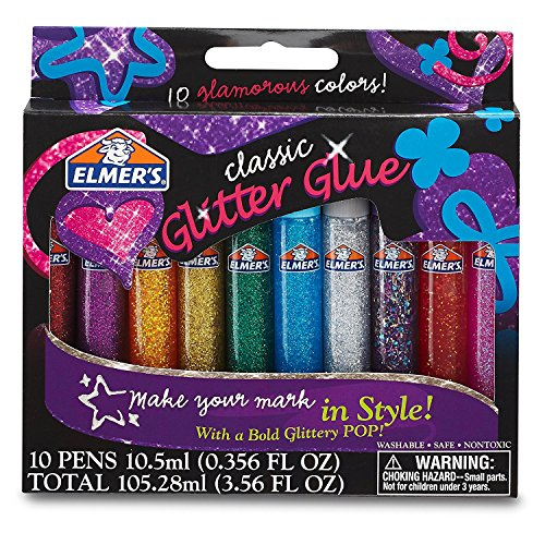 Elmer's Washable Glitter Glue, Classic Rainbow,(E199) (4-Pack of 10)