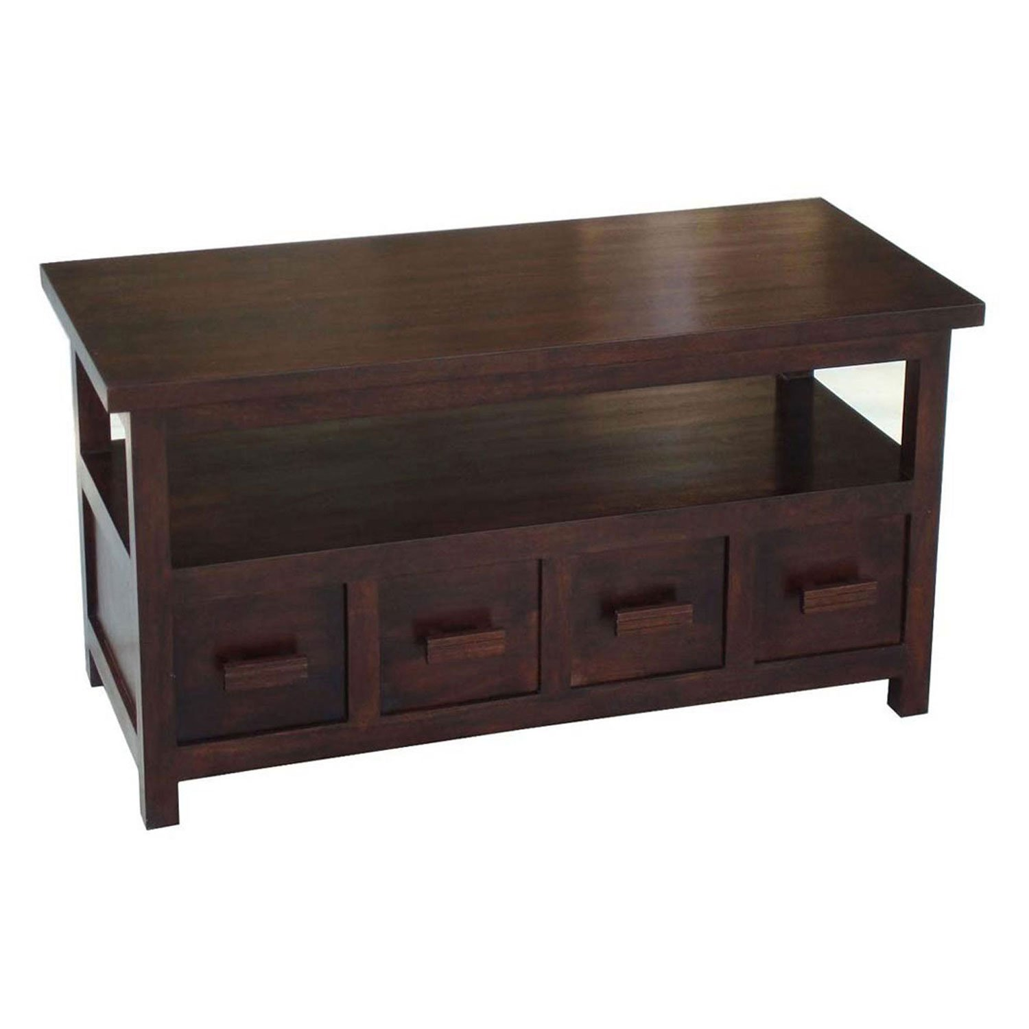 Homescapes Coffee Table cum TV Unit Walnut Shade 100% Solid Mango
