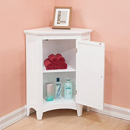 Amazon.com: Corner Floor Cabinet with White Shutter Door ...