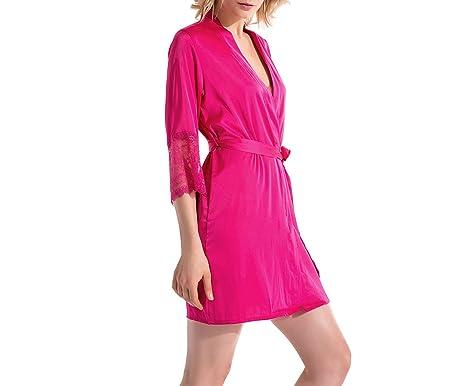 Vestido de Verano Bata de Seda Pijamas de Las Mujeres Albornoz Albornoz Vestidos para Las Mujeres Dormir Ropa Interior Pijamas Albornoces de Noche: ...