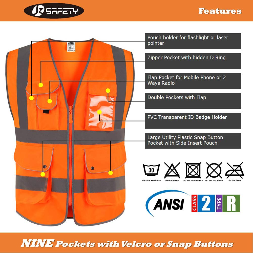 JKSafety 9 Pockets Class 2 High Visibility Zipper Front Safety Vest with Reflective Strips Yellow Meets ANSI//ISEA Standards 5X-Large, Yellow