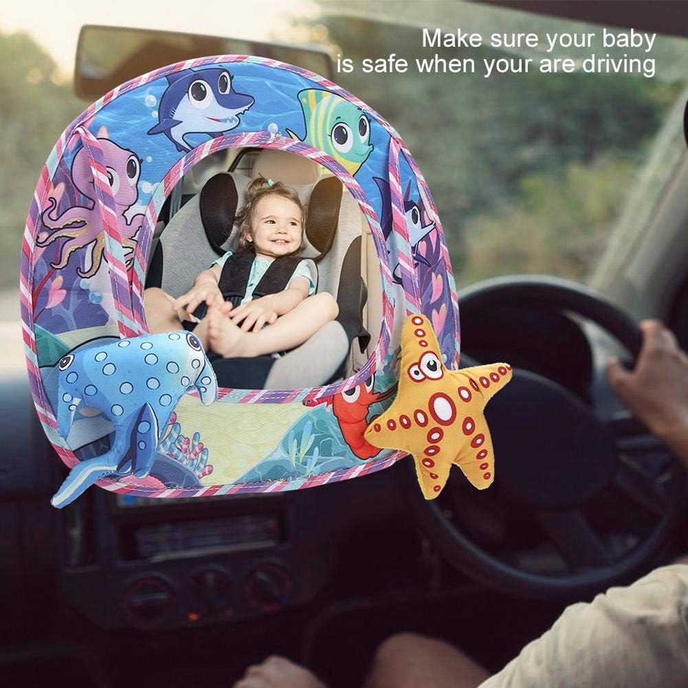 Sea Espejo coche del beb/é Mirar hacia atr/ás Espejos retrovisores del asiento trasero Educativo Felpa Juguete de animal de dibujos animados Beb/é en el asiento trasero Mientras conduce