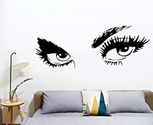 "Huazhong Zhou Women Beautiful Eyes Wall Decals Big Eyes Wall Stickers Removable Vinyl Decor Wall Art for Living Room Bedroom Decoration(Black,15""x17"")"