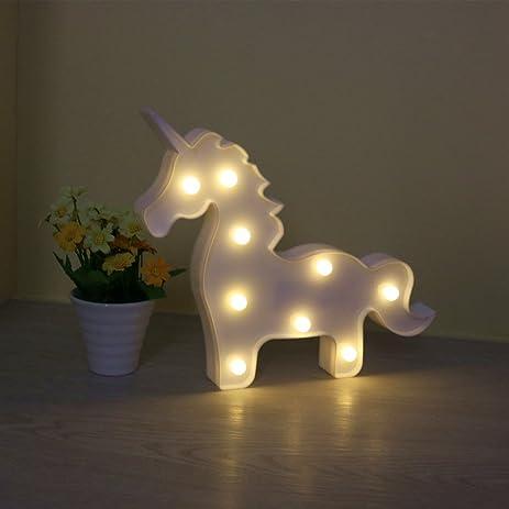Amazon.com: DELICORE White Unicorn Shaped Animal Light Table Lamp ...