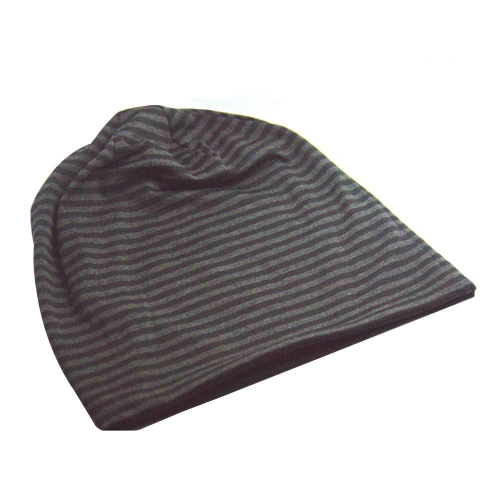 Unisex Cotton Beanies Soft Stretch Slouchy Sleep Cap Fashion Stripe Cap Baotou Cap (Red)