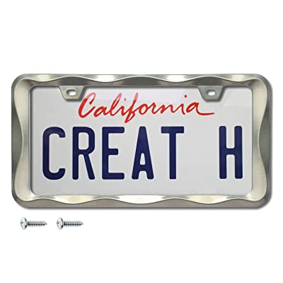 creathome 3D Curly Wave Pattern Brush Nickel License Plate Frame from Pure Zinc Alloy Metal: Automotive