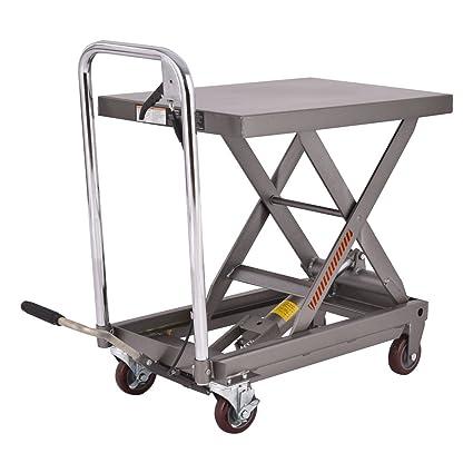 Goplus Hydraulic Scissor Lift Table Cart Dolly Scissor Jack Hoist Stand  500LB Capacity W/ Foot