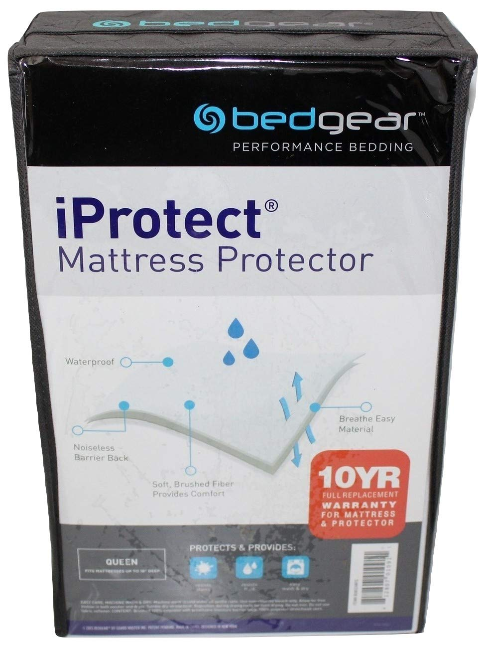 Bedgear iProtect Performance Queen Mattress Protector, Breathable, Anti-Microbial, Waterproof Barrier. Fits mattresses up to 18 inches deep
