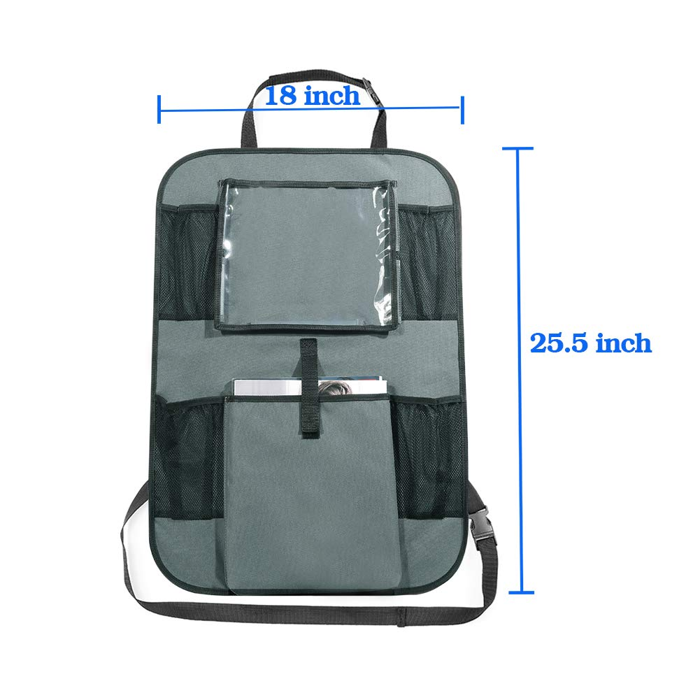 Kick Mats Black 2 Pack Auto Seat Back Protector JLMlike Back Seats Organizers with 6 Pockets Storage Bag Holder for iPad Tablet Bottle Toys Vehicles Travel Accessories