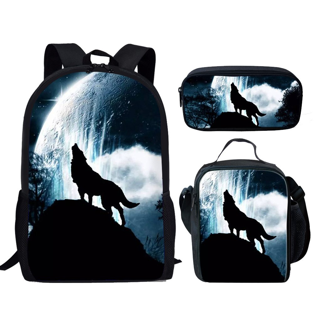 Showudesigns Roar Wolf Kids Schoolbag Set Include Backpack Small Lunch Bag Pencil Case