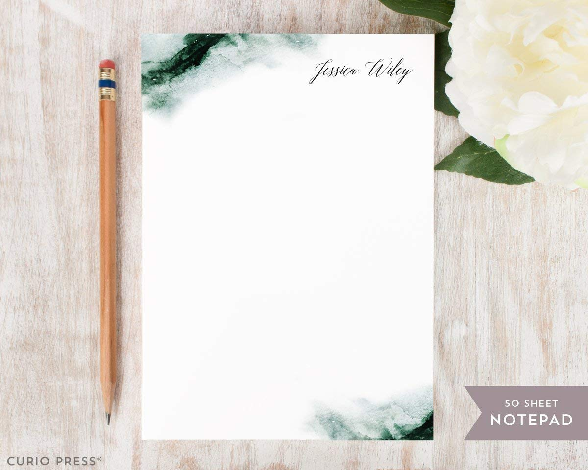 ETHEREAL NOTEPAD - Personalized Stationery/Stationary Custom Watercolor Script Note Pad by Curio Press