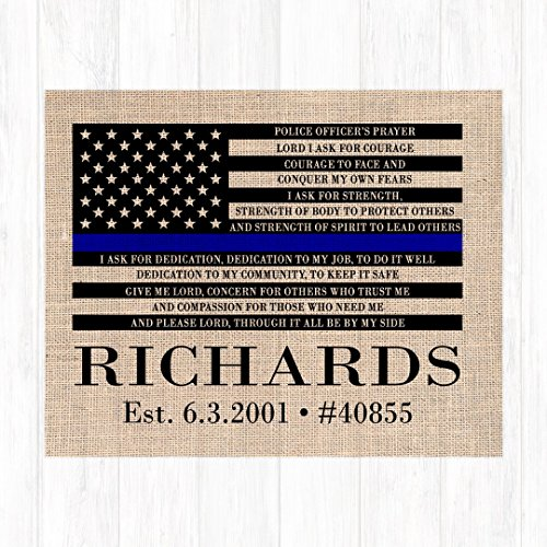 Police Officer Prayer Wall Decor, Burlap Print, Choose from Sizes 8x10, 11x14, 12x16 - Ready to Frame