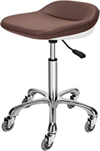 Mcdoofly Elegant Rolling Barber Stool Swivel Salon Stool Adjustable Home Office Stool Chair with Wheels,Brown