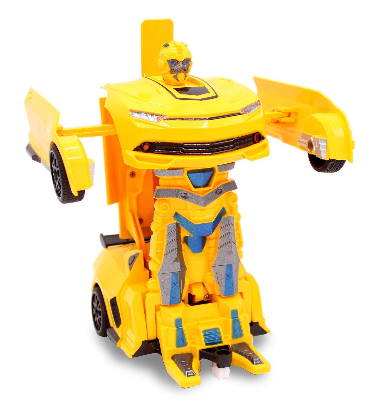 Kids RC Toy Transforming Robot Remote Control (27 MHz) Sports Car One Button Transformation Realistic Engine Sounds 360 Speed Drifting 1:22 Scale Toys For Boys (Yellow) by Transformania Toys (Image #3)