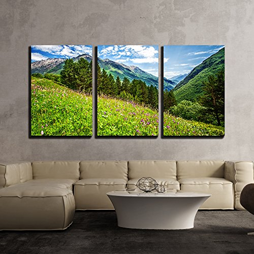 Beautiful Meadow on Cheget Mount Bright Pink Flowers on a Mountains Field x3 Panels