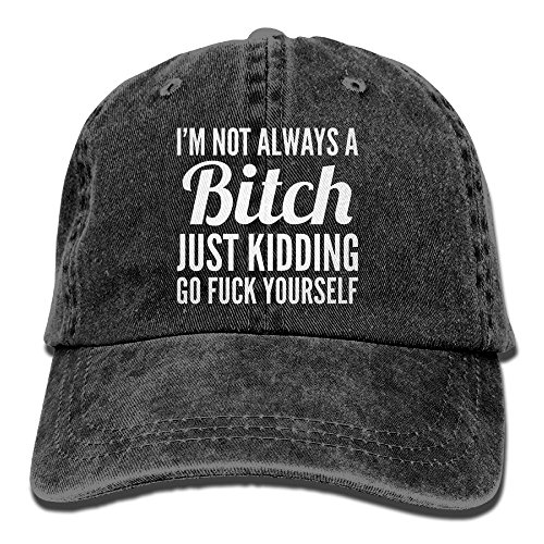I'm Not Always Bitch Plain Adjustable Cowboy Cap Denim Hat for Women and ()