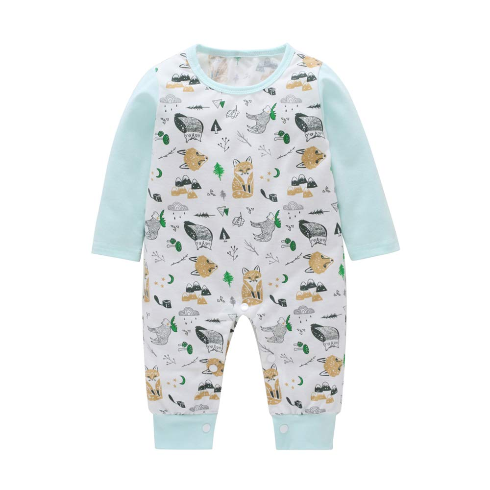 WOSENHK Newborn Baby Boys Girls Bodysuits Outfits Fox Owl Cartoon Print Romper Long Sleeve Jumpsuit Clothes Set
