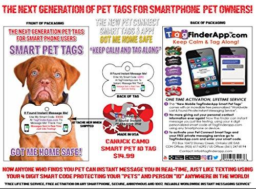 Finder Camo - Tag Finder REDCAM-BN-EN Smart Pet I.D Tag-Red Camouflage Bone, Standard