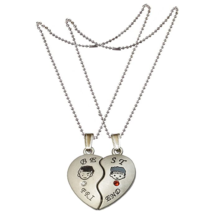 406ce2b381 Sullery Couple Heart Jewelry Boys And Girls Best Friend Matching Hearts  Crystal Friendship Gift With 2 Chain Zinc Alloy Heart Pendant For Unisex:  Amazon.in: ...