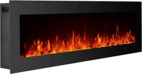 Gmhome 40 Inches Electric Fireplace Wall Mounted Freestanding Heater Crystal Stone Flame Effect 9 Changeable Color Fireplace With Remote 1500w Glass Panel Black Home Kitchen
