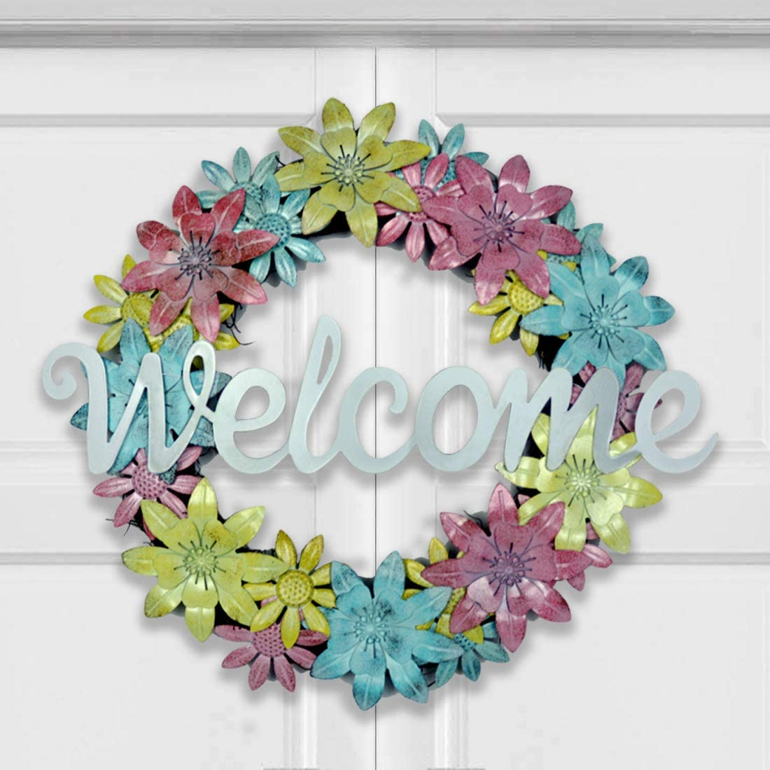 HOMirable 17 Inch Metal Flower Wreaths for Front Door, Welcome Sign Floral Wreath, Iron Farmhouse Wreath for Spring Summer, Yard Garden Home Wall Art Décor