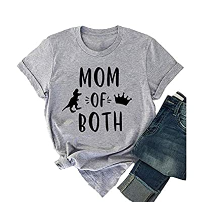 womens tops Mom of Both Shirt Tees Letter Print Short Sleeve Summer Casual Short Sleeve Mother's Gift Tops at Women's Clothing store