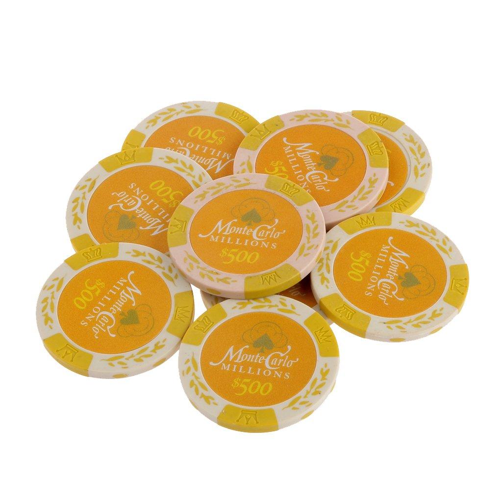 10pcs Monte Carlo Jetons De Poker Etiquette De Casino Chips avec Valeur Dollar 1-10000 - 500, / Generic