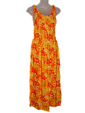 10b7d8ed51 HAWAIIAN YELLOW ORANGE HIBISCUS MAXI LONG TANK TOP SUN DRESS-ONE ...