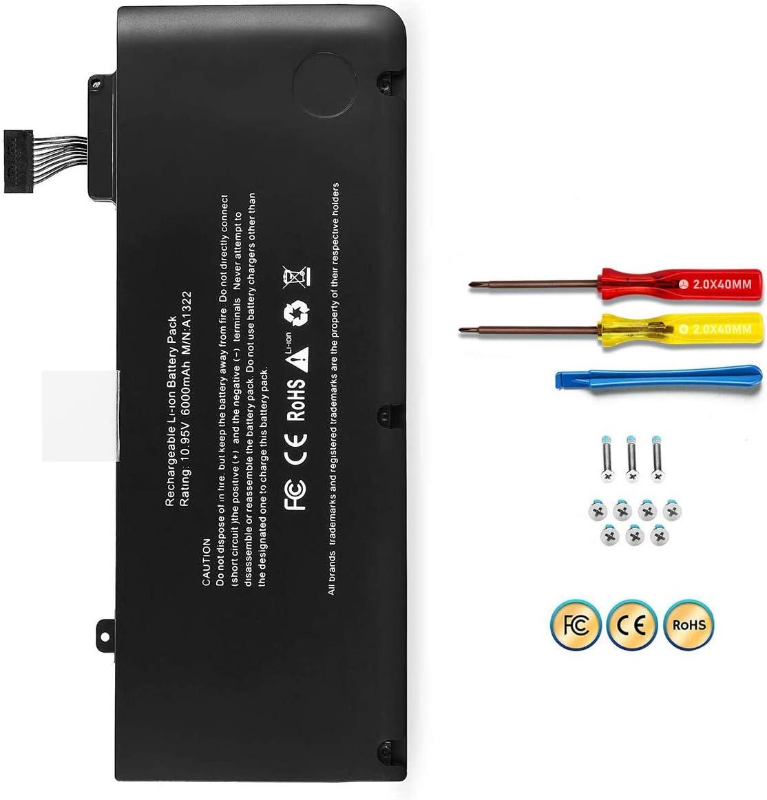 POWERWOO A1322 A1278 Battery for Apple MacBook pro 13 '' 2009 2010 2011 2012 with 6000mAh Newer Tech (MC374LL/A MB990LL/A MB991LL/A MC700LL/A MD313LL/A MD101LL/A MD102LL/A Battery)[ 10.95V /65.7Wh]