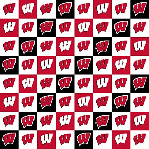 University of Wisconsin Cotton Fabric with New Mini Check Design-Newest Pattern-NCAA Cotton Fabric
