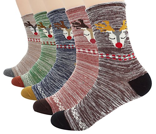 Women's Winter Socks 5 Pack Cute Soft Christmas Deer Cotton Crew (8' Soft Toe Work Boot)
