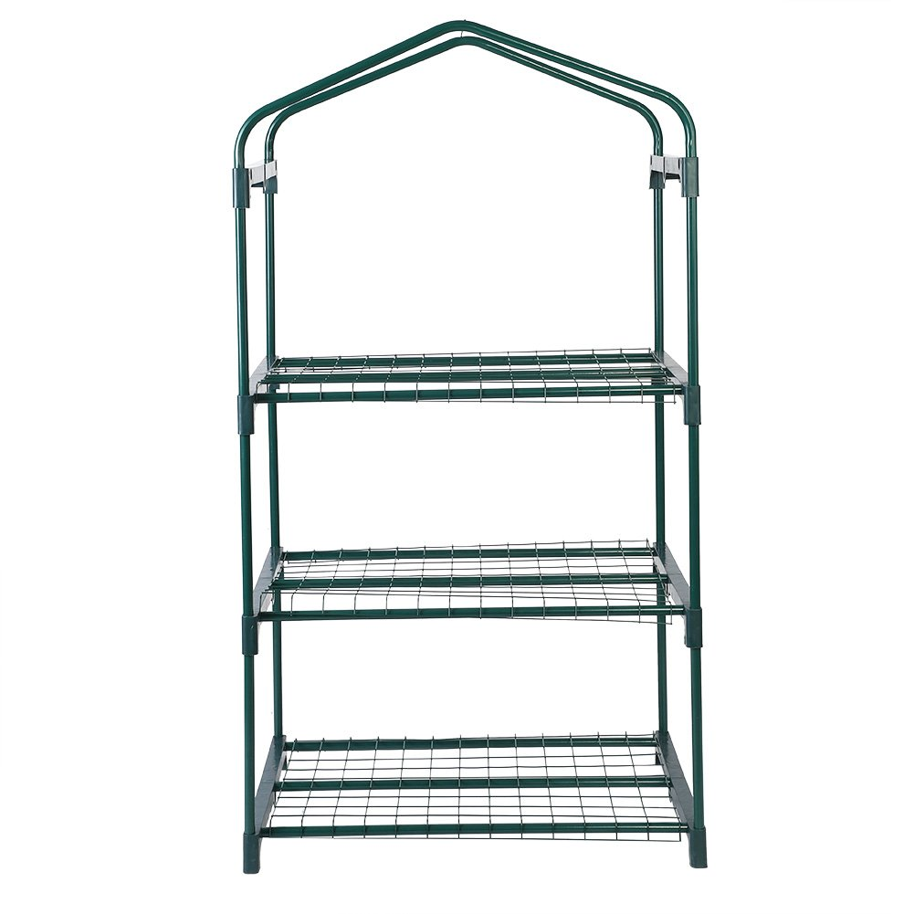 Zerodis 3 Tiers Reinforced Iron Self Frame for Portable Greenhouse Cover, Garden Mini Greenhouse Iron Stand Flower Pot Stand Self(69 x 49 x 126cm) (Greenhouse Iron Stand)