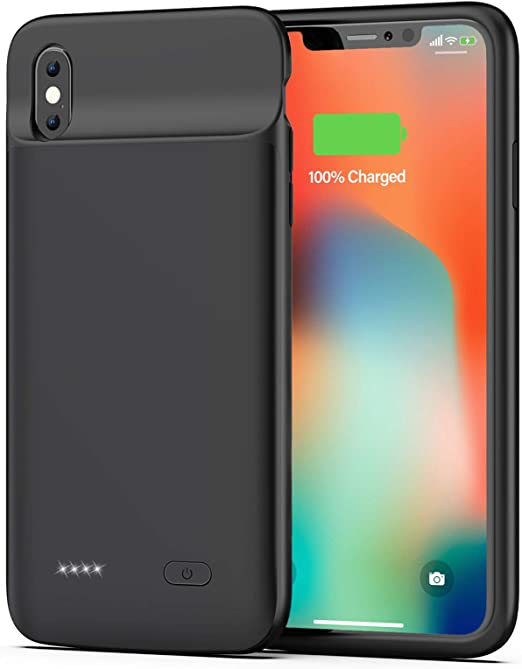 Black 5000mAh Portable Protective Charging Case Extended Rechargeable Battery Pack for iPhone Xs MAX Battery Case for iPhone Xs MAX Charger Case- 6.5 inch